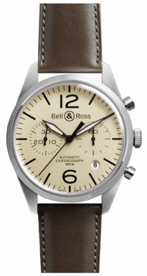 Montre homme Bell & Ross Vintage Original Chronograph BRV126-BEI-ST/SCA