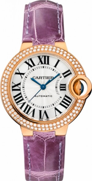 Montre pour femme Cartier Ballon Bleu en or rose 18 carats avec diamants WE902066
