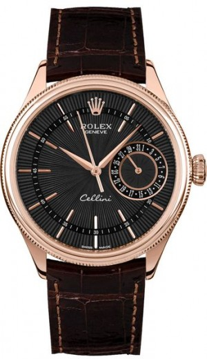 Rolex Cellini Date Black Dial 18k Everose Gold Men's Watch 50515
