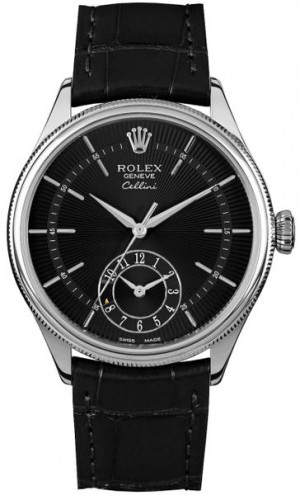 Rolex Cellini Dual Time Black Dial Men's Watch 50529