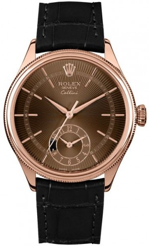 Montre Rolex Cellini Dual Time en or massif 18k Everose pour hommes 50525