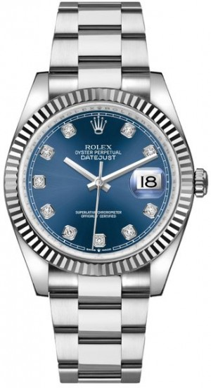 Rolex Datejust 36 Cadran bleu serti de diamants Montre de luxe 126234