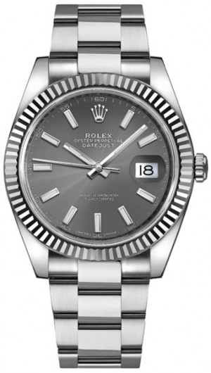 Rolex Datejust 41 Oystersteel Rhodium Men's Watch 126334