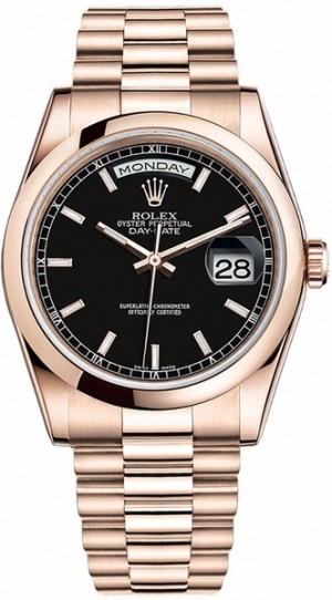 Montre Rolex Day-Date 36 cadran noir en or rose 118205